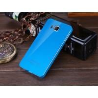Двухкомпонентный чехол с металлическим бампером и поликарбонатной накладкой для Samsung Galaxy Alpha Синий