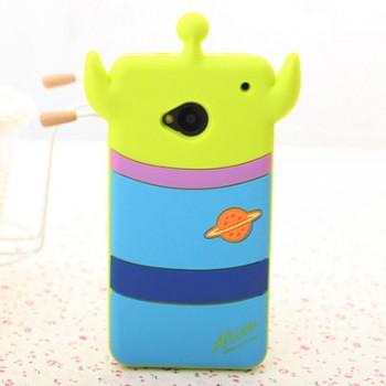 Силиконовый дизайнерский фигурный чехол мультяшки для HTC One (М7) Dual SIM