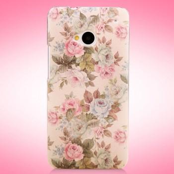 Пластиковый матовый дизайнерский чехол с принтом серия цветы для HTC One (М7)