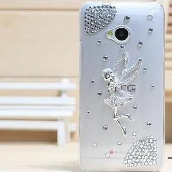 Пластиковый чехол с металлическим напылением и стразами для HTC One (М7)