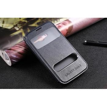 Чехол флип подставка (глянцевая кожа) с окном вызова и свайпом для Samsung Galaxy Core 2