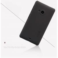 Пластиковый матовый нескользящий премиум чехол для Microsoft Lumia 535 Черный