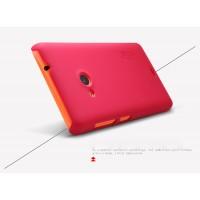 Пластиковый матовый нескользящий премиум чехол для Microsoft Lumia 535 Красный