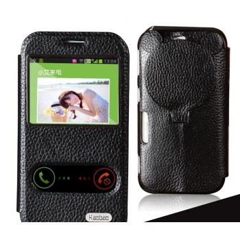 Чехол флип-подставка со свайпом, окном вызова и фигурной защитой объектива для Samsung Galaxy K Zoom (sm-c115)