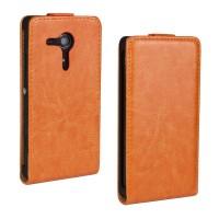 Чехол вертикальная книжка на пластиковой основе с магнитной застежкой для Sony Xperia SP Оранжевый