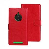 Глянцевый чехол портмоне подставка с защелкой для Nokia Lumia 830 Красный