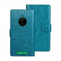Глянцевый чехол портмоне подставка с защелкой для Nokia Lumia 830 Голубой