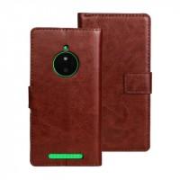 Глянцевый чехол портмоне подставка с защелкой для Nokia Lumia 830 Коричневый