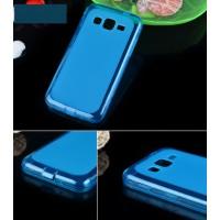 Силиконовый матовый полупрозрачный чехол для Samsung Galaxy Core Advance Синий