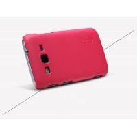 Пластиковый матовый нескользящий премиум чехол для Samsung Galaxy Core Advance Красный