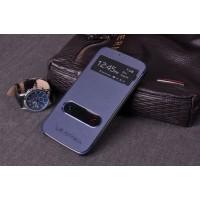 Чехол флип с окном вызова и свайпом для Samsung Galaxy Core Advance Синий