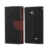 Текстурный чехол флип с дизайнерской застежкой для LG L70 Черный