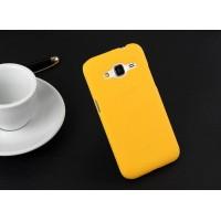 Пластиковый матовый непрозрачный чехол металик для Samsung Galaxy Core Prime Желтый