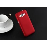 Пластиковый матовый непрозрачный чехол металик для Samsung Galaxy Core Prime Красный