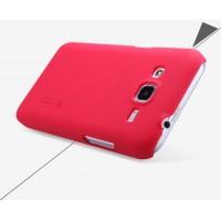 Пластиковый матовый нескользящий премиум чехол для Samsung Galaxy Core Prime Красный