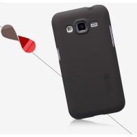 Пластиковый матовый нескользящий премиум чехол для Samsung Galaxy Core Prime Коричневый