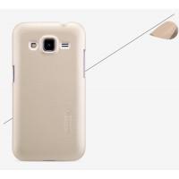 Пластиковый матовый нескользящий премиум чехол для Samsung Galaxy Core Prime Бежевый