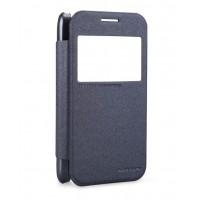 Чехол флип на пластиковой матовой нескользящей премиум основе с окном вызова серия Colors для Samsung Galaxy Core Prime Черный