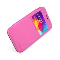 Чехол флип на пластиковой матовой нескользящей премиум основе с окном вызова серия Colors для Samsung Galaxy Core Prime Розовый