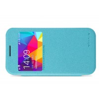 Чехол флип на пластиковой матовой нескользящей премиум основе с окном вызова серия Colors для Samsung Galaxy Core Prime Голубой