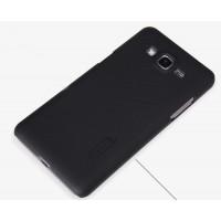 Пластиковый матовый нескользящий премиум чехол для Samsung Galaxy Grand Prime Черный