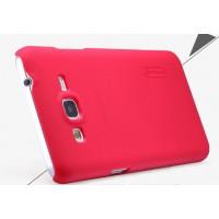Пластиковый матовый нескользящий премиум чехол для Samsung Galaxy Grand Prime Красный