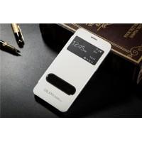 Чехол флип с окном вызова и свайпом для Samsung Galaxy Grand Prime Белый