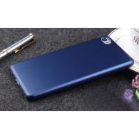 Пластиковый матовый металлик чехол для Lenovo S90 Синий