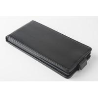 Чехол вертикальная книжка на силиконовой основе с магнитной застежкой для Fly IQ4516 Tornado Slim Octa Черный