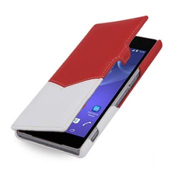 Эксклюзивный кожаный чехол горизонтальная книжка (премиум нат. кожа двух видов ручного пошива) для Sony Xperia Z2