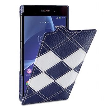 Эксклюзивный кожаный чехол вертикальная книжка (премиум нат. кожа двух видов ручного пошива) для Sony Xperia Z2