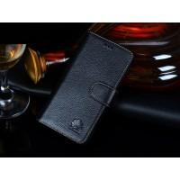Кожаный чехол портмоне (нат. кожа) для Huawei Ascend P7 Черный