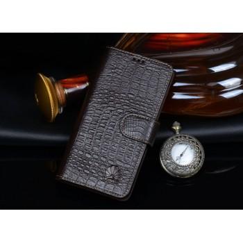 Кожаный чехол портмоне (нат. кожа крокодила) для Huawei Ascend P7