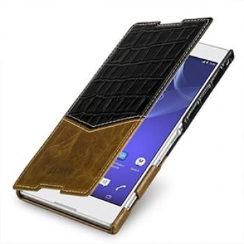 Эксклюзивный кожаный чехол горизонтальная книжка (премиум нат. кожа двух видов) для Sony Xperia T2 Ultra (Dual)