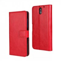 Чехол портмоне подставка на пластиковой основе с защелкой для HTC Desire 610 Красный