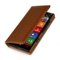 Эксклюзивный кожаный чехол портмоне (премиум нат. вощеная кожа) на кожаной основе для Nokia Lumia 930