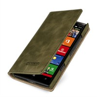 Эксклюзивный кожаный чехол портмоне (премиум нат. вощеная кожа) на кожаной основе для Nokia Lumia 930 Зеленый