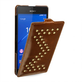 Эксклюзивный кожаный дизайнерский чехол ручной работы вертикальная книжка (нат. кожа) с аппликацией металлическими заклепками для Sony Xperia Z3