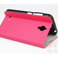 Текстурный чехол флип подставка с застежкой и внутренними карманами для Alcatel One Touch Idol 2 mini Розовый
