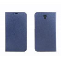 Текстурный чехол флип подставка с застежкой и внутренними карманами для Alcatel One Touch Idol 2 mini Синий