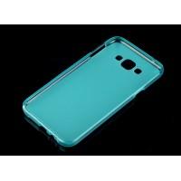 Силиконовый матовый полупрозрачный чехол для Samsung Galaxy E7 Голубой