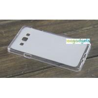 Силиконовый матовый полупрозрачный чехол для Samsung Galaxy A7 Белый