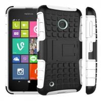 Силиконовый чехол экстрим защита с функцией подставки для Nokia Lumia 530 Белый