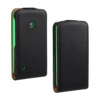 Чехол вертикальная книжка на пластиковой основе с магнитной застежкой для Nokia Lumia 530 Черный