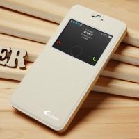 Чехол смарт флип подставка текстурный с окном вызова для Huawei Honor 6 Plus Белый