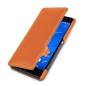 Кожаный чехол горизонтальная книжка (нат. кожа) с защелкой для Sony Xperia Z3 Compact