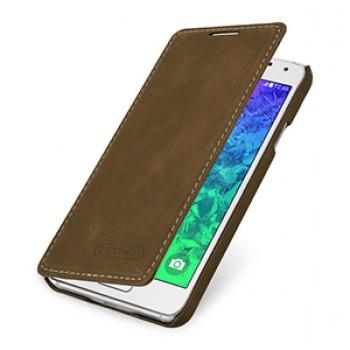 Кожаный чехол горизонтальная книжка (нат. винтажная кожа) для Samsung Galaxy Alpha