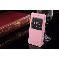 Чехол флип подставка узорный с окном вызова на пластиковой основе для Samsung Galaxy S5 Mini Розовый