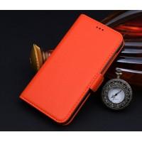 Кожаный чехол портмоне подставка (нат. кожа) для Philips V387 Xenium Оранжевый