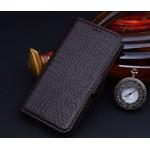 Кожаный чехол портмоне подставка (нат. кожа крокодила) для Philips V387 Xenium